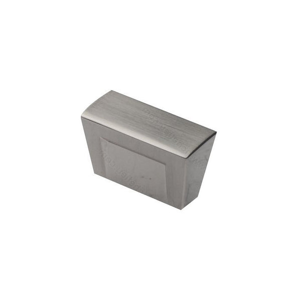 Contemporary rectangle kitchen cabinet knobs in brushed nickel.