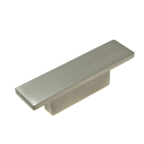 Kitchen cabinet knobs contemporary rectangular metal in brushed nickel.