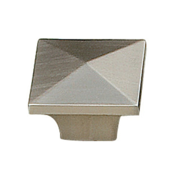 Modern kitchen cabinet metal square knob in brushed nickel.