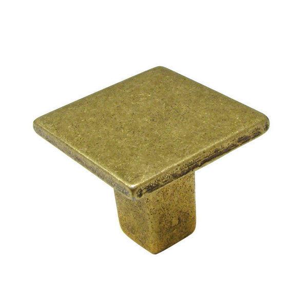 Contemporary square kitchen cabinet knob in burnished brass.