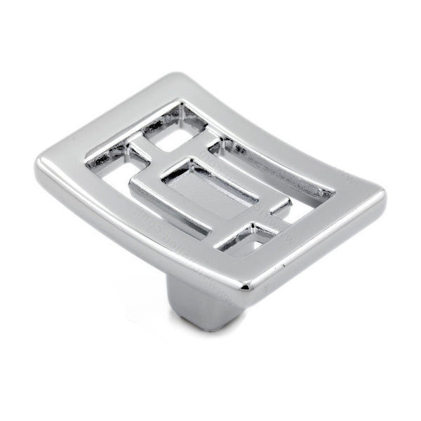 Kitchen cabinet knob with chrome finish, decorative oriental shape from art deco hardware collection.