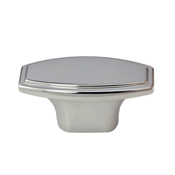 Kitchen cabinet knob with chrome finish, decorative rectangular shape from inspiration hardware collection.