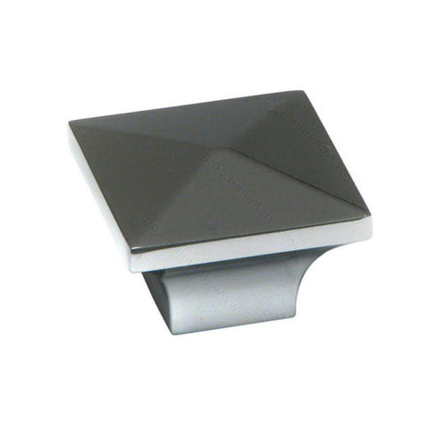 Kitchen cabinet knobs with decorative square metal shape in chrome.