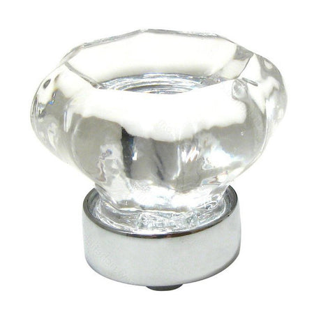 Classic kitchen cabinet crystal and glass knob with white metal finish.