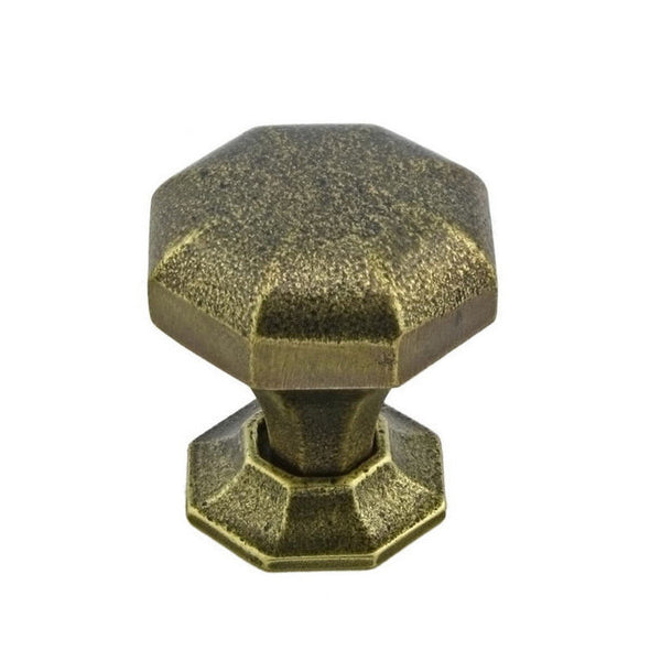Cabinet kitchen knob traditional octagon shape in english bronze.