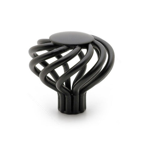 Kitchen cabinet knob traditional decorative round spiral in matte black.