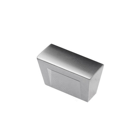 Sleek cupboard knobs rectangular in matte chrome.