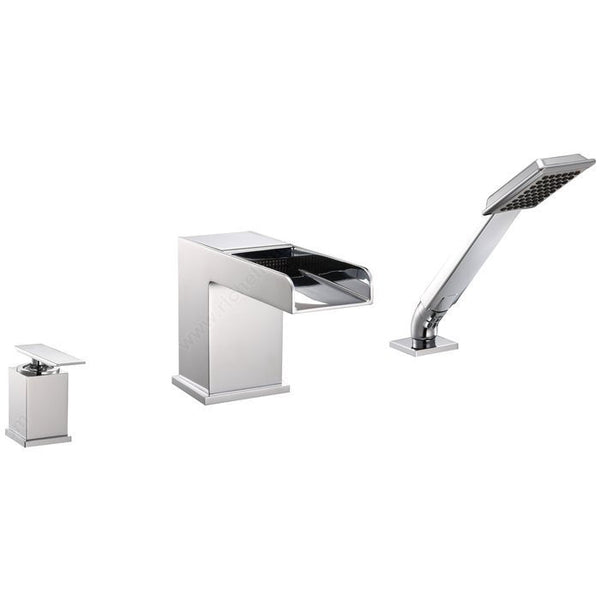 Riveo waterfall bath faucet three-hole single-lever tub mixer in chrome A219140