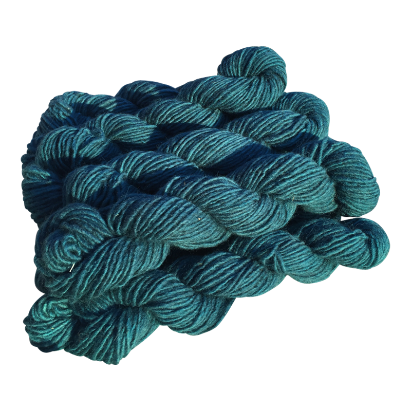 Teal, Hand-dyed Medium Weight Churro Yarn
