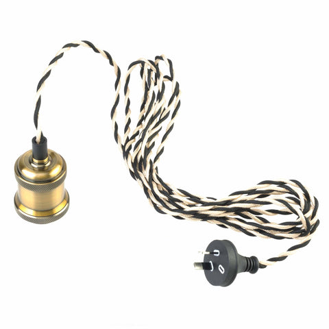 Brass Plug In Pendant E27