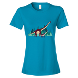 Dinosaur Adventure womens t-shirt caribbean blue