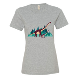 Dinosaur Adventure womens t-shirt heather grey