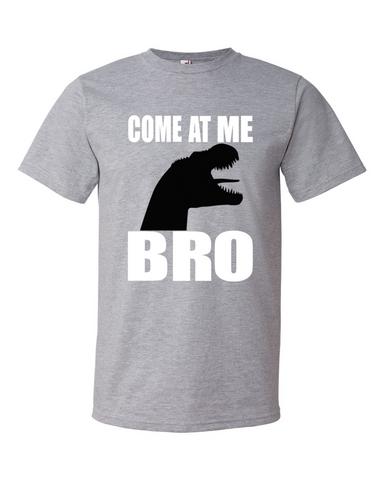 Come At Me Bro men's dinosaur graphic t shirt heather grey
