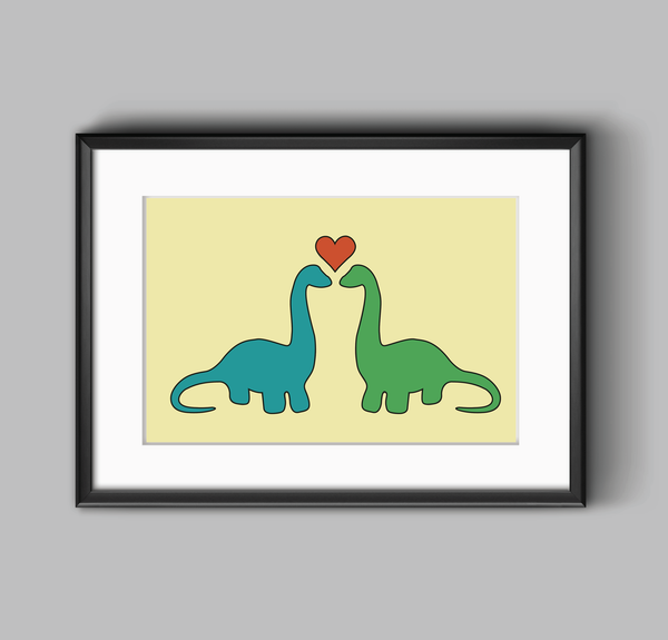 Dino Love print wall art