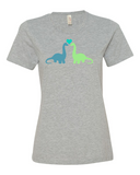 Dino Love women's graphic t-shirt heather grey