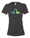 Dino Love women's graphic t-shirt smoke