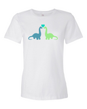 Dino Love women's graphic t-shirt white