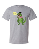 Le Dinosaure men's graphic t shirt heather grey