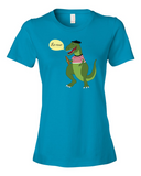 Le Dinosaure women's graphic t shirt caribbean blue