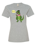 Le Dinosaure women's graphic t shirt heather grey