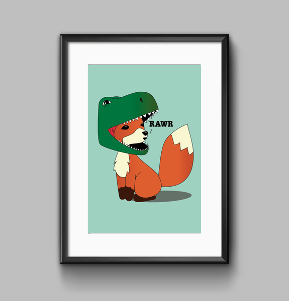 Little Foxasaur print wall art
