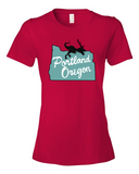 Portland Oregon Velociraptor womens graphic t-shirt red