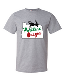 Portland Holiday Veloci-Prancer mens dinosaur t shirt heather grey