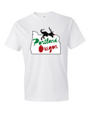 Portland Holiday Veloci-Prancer mens dinosaur t shirt white