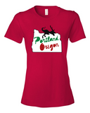 Portland Holiday Veloci-Prancer mens dinosaur t shirt red
