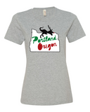 Portland Holiday Veloci-Prancer womens dinosaur t shirt heather grey