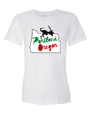 Portland Holiday Veloci-Prancer womens dinosaur t shirt white