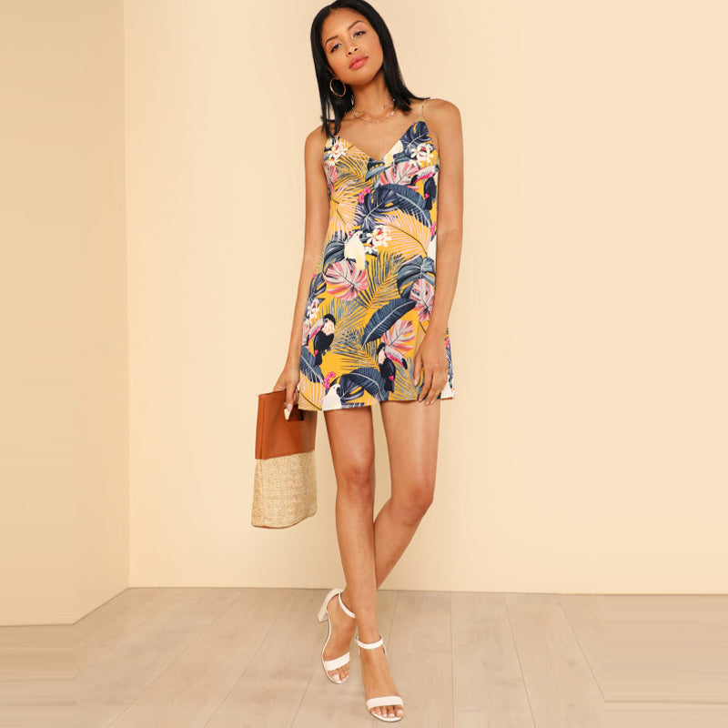 SHEIN New Cami Printed Dress Summer Beach Floral Tropical V Neck Straight Spaghetti Strap Animal Vacation Dress