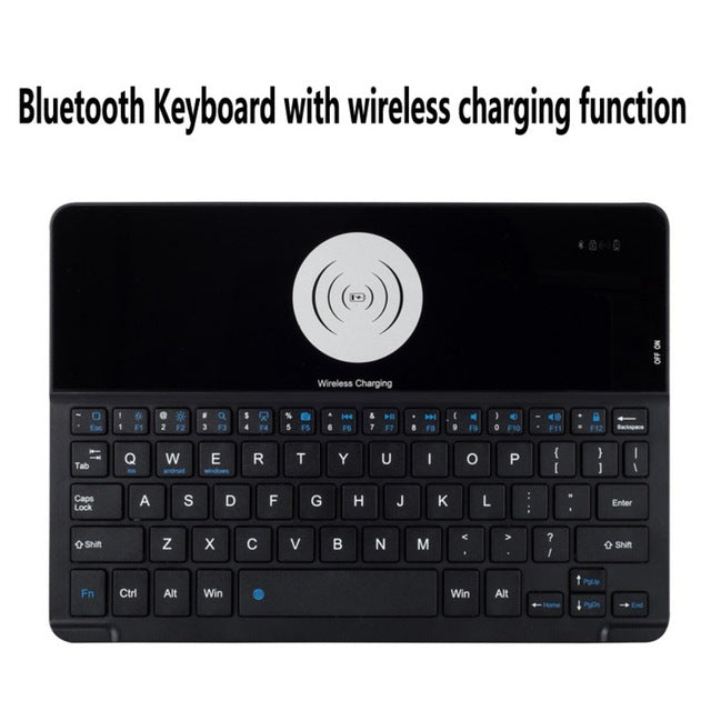 Bluetooth Keyboard iPad Case w/ Wireless Charger