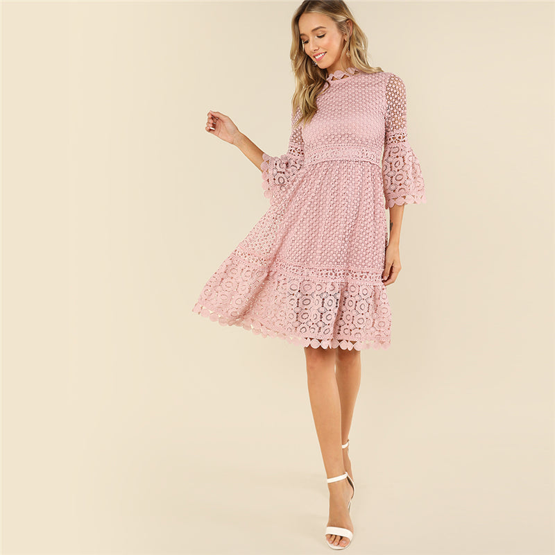 Elegant Guipure Lace Sheer Stand Collar Dress