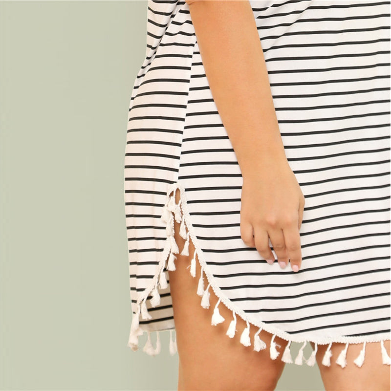 Black and White Stripe Plus Size Dress