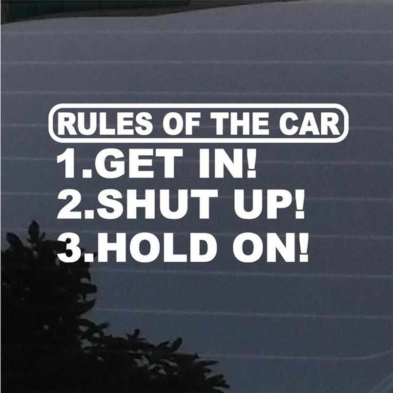 Rules Of The Car Sticker Decal