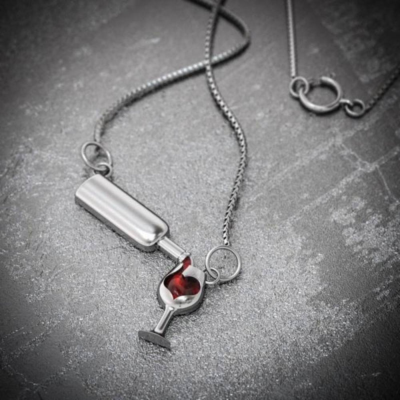 Love Wine Pendant Necklace - Wine Bottle And Glass Necklace