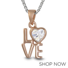 Metalsmiths Sterling Silver Rose Gold Love Pendant
