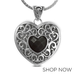 Metalsmiths Sterling Silver Black Onyx Heart Pendant