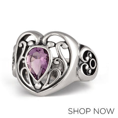 Metalsmiths Sterling Silver Amethyst Heart Ring