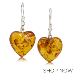 Metalsmiths Sterling Silver Baltic Amber Heart Earrings
