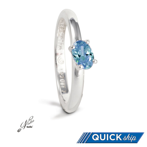 Delish Stacking Ring - Blue Topaz, Pink Cubic