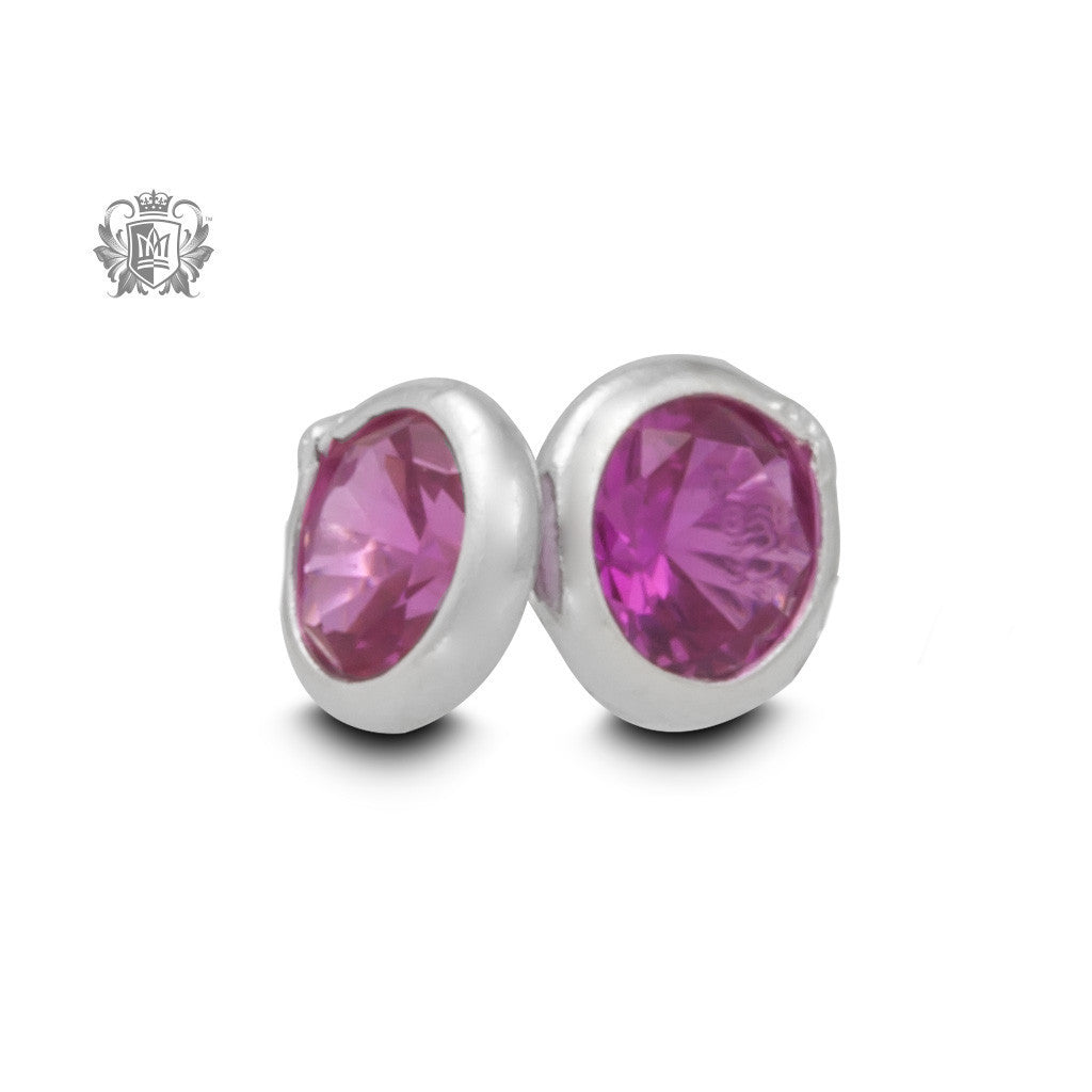 Birthstone Stud Earrings - October/Tourmaline CZ Gemstone Earrings - 12