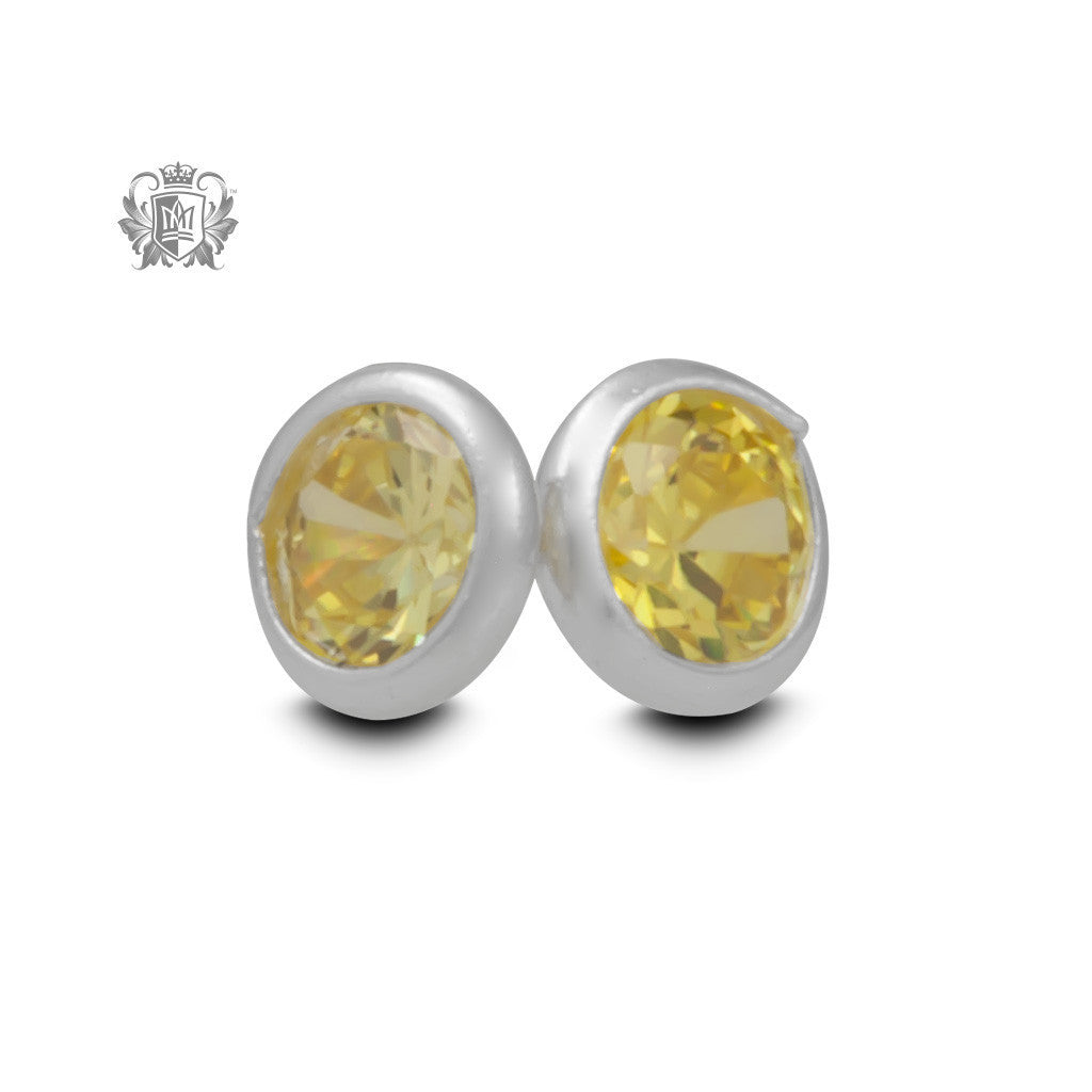 Birthstone Stud Earrings - November/Citrine CZ Gemstone Earrings - 13