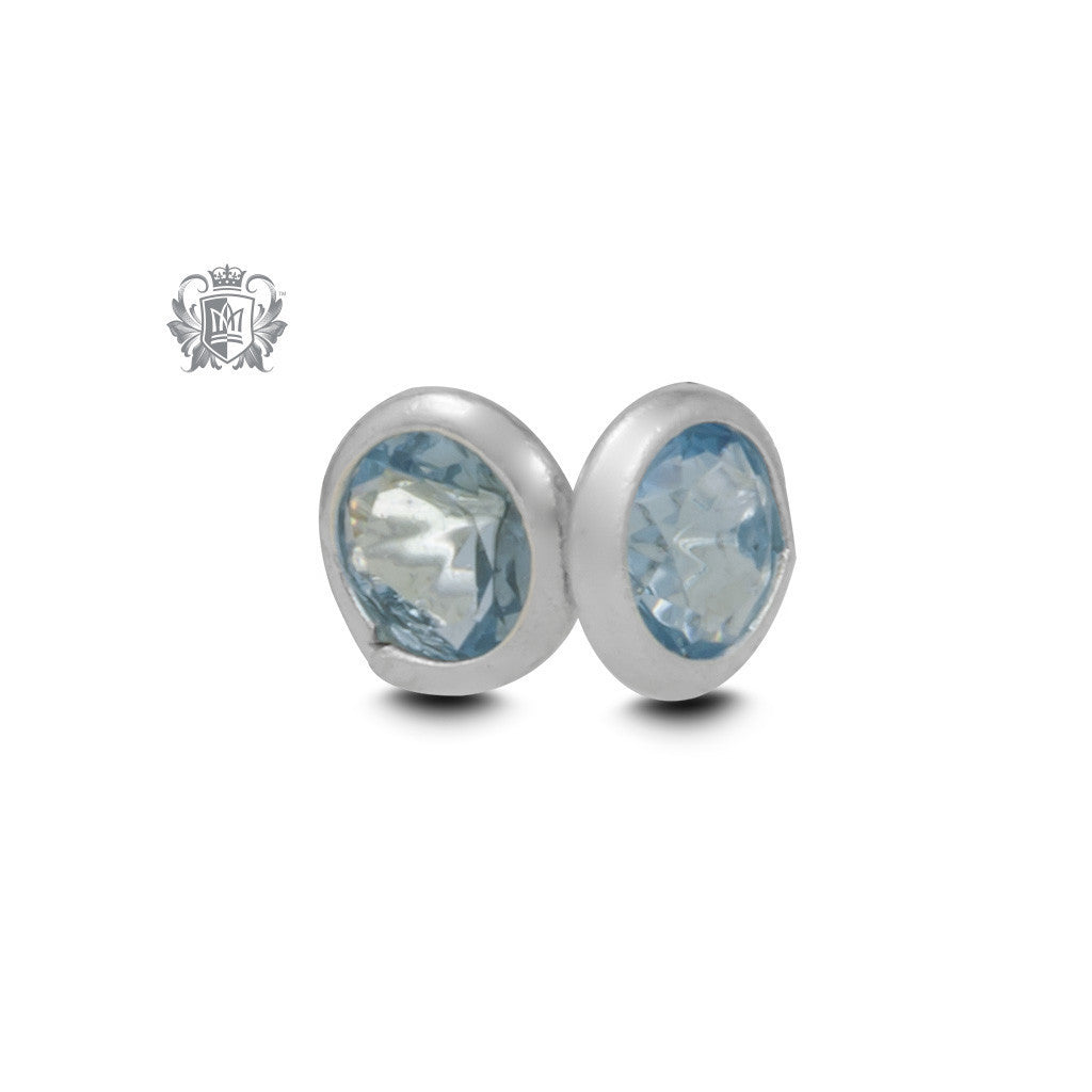 Birthstone Stud Earrings - December/Blue Topaz CZ Gemstone Earrings - 14