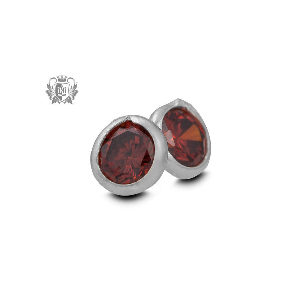 Birthstone Stud Earrings - January/Garnet CZ Gemstone Earrings - 2