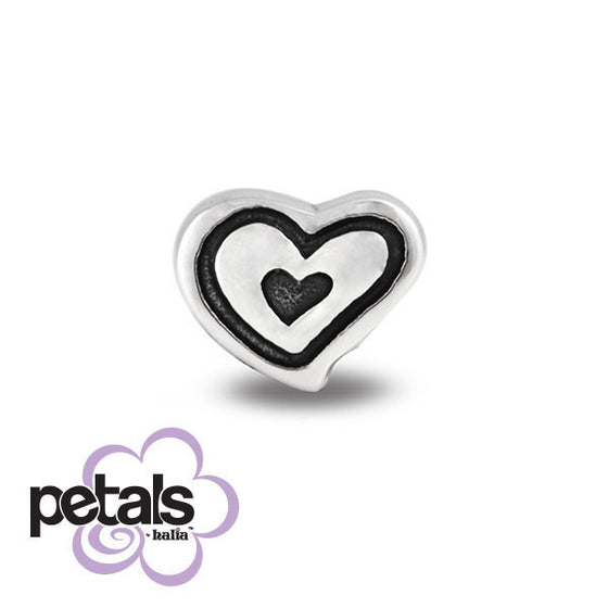 Happy Heart -  Petals Sterling Silver Charm