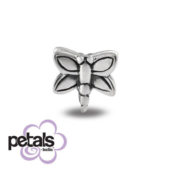 Dizzy Dragonfly -  Petals Sterling Silver Charm