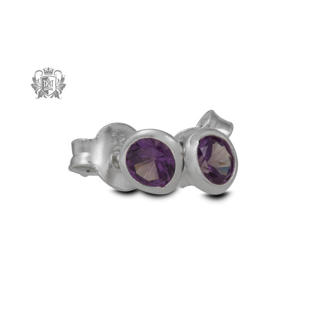 Birthstone Stud Earrings - February/Amethyst CZ Gemstone Earrings - 3