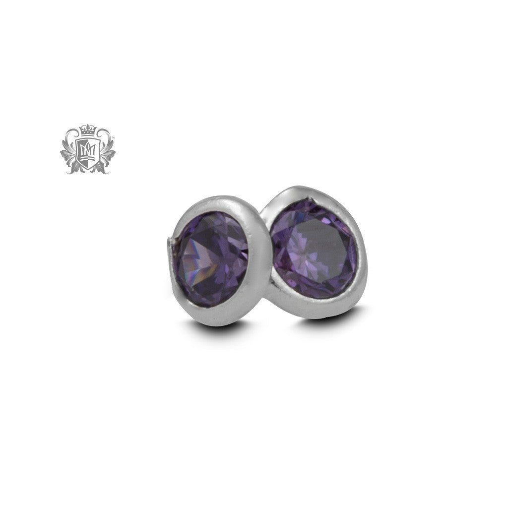 Birthstone Stud Earrings - June/Alexandrite CZ Gemstone Earrings - 7